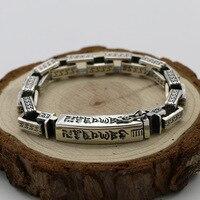 Vintage Retro Tibetan Buddhism Sterling Silver Bracelet Men's Square Chain Thai Silver Heart Sanskrit Word Bracelet Domineering