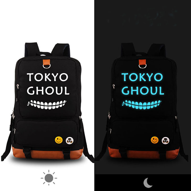 High Quality Anime Preppy Tokyo ghouls Luminous Printing Canvas Travel Fashion Backpack Rucksack School Bags for Teenagers ciker new preppy style 4pcs set women printing canvas backpacks high quality school bags mochila rucksack fashion travel bags
