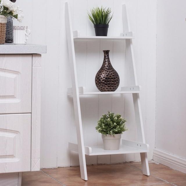 Super Giantex 3 Tier Leaning Wall Ladder Book Shelf Bookcase Storage  NS06