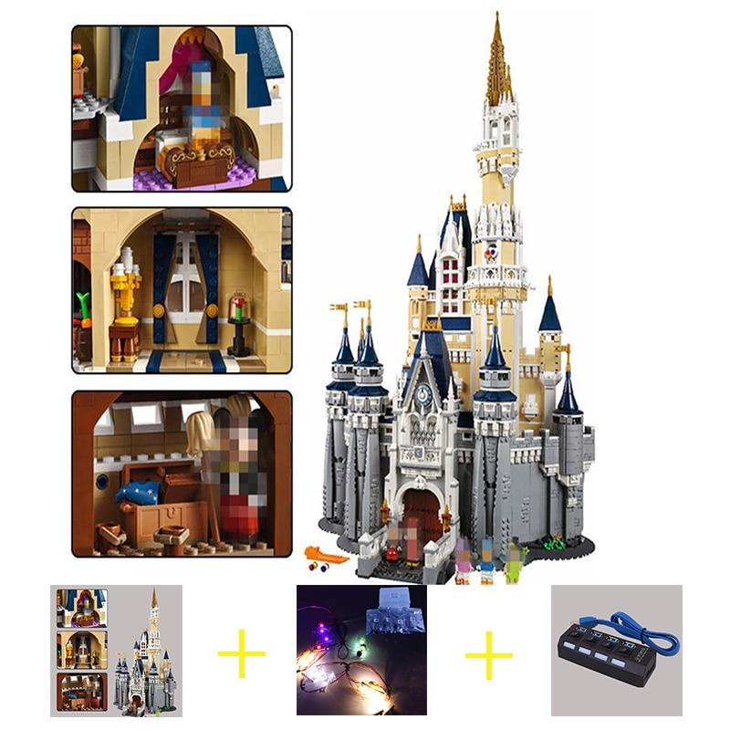 Building Blocks City Street 16008 Cinderella Princess Castle Led Light Set compatible 71040 Toys Creator City Street Lighting самокаты street surfing street surfing city kicker