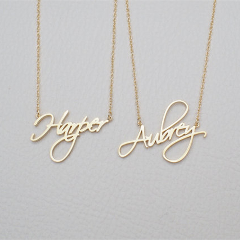 Custom Name Halskette Frauen Personalisierte Geschenk Angepasst Anhänger Cursive Handschrift Edelstahl Kette Mode Schmuck 2019