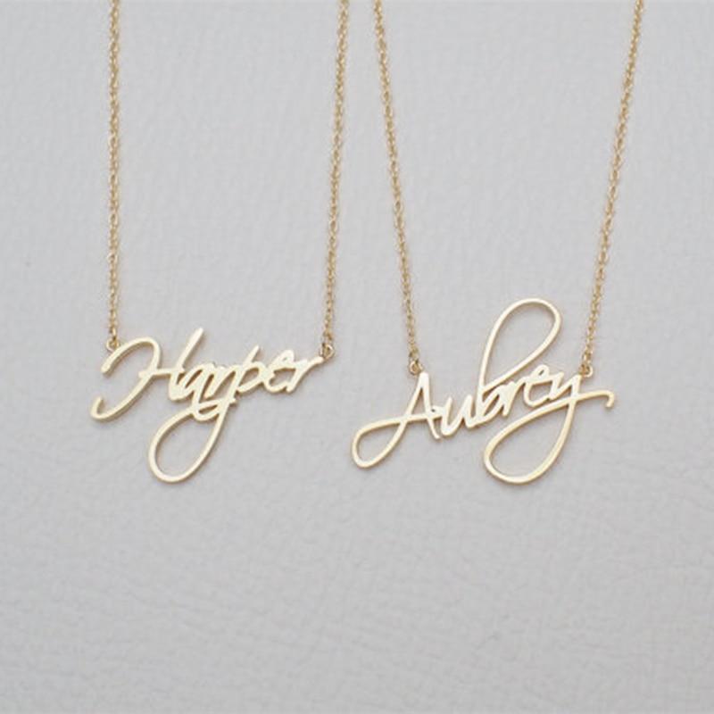 Nombre personalizado collar mujer regalo personalizado colgante cursiva letra de acero inoxidable Cadena de joyería de moda 2019