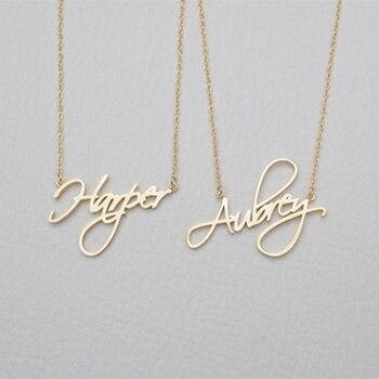 Nome personalizado Colar de Mulheres Presente Personalizado Personalizado Caligrafia Cursiva Pingente Cadeia de Moda Jóias de Aço Inoxidável 2019