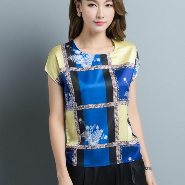 357f02f353 2018 Verão Plus Size manga curta xadrez blusas de cetim de seda mulheres  casual imprimir soltas