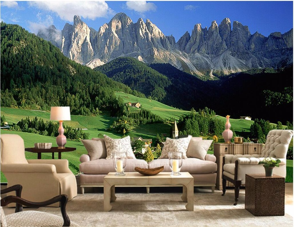 Custom mural 3d wallpaper mountain forest grassland photo wall paper decor painting 3d wall murals wallpaper for walls 3 d 3d wall murals wallpaper for living room walls 3 d photo wallpaper sun water falls home decor picture custom mural painting