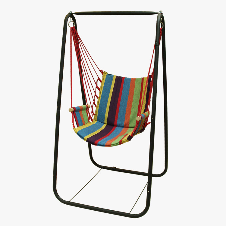 Fashion Garden Hammock Camping Outdoor Furniture Hanging Chair With Iron Frame Hammock Beach Swing Canvas Set 5 Colors