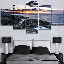 5 Piece HD Print Waves And Sunset Seaview Picture Painting Canvas Wall Art Home Decoration Living Room