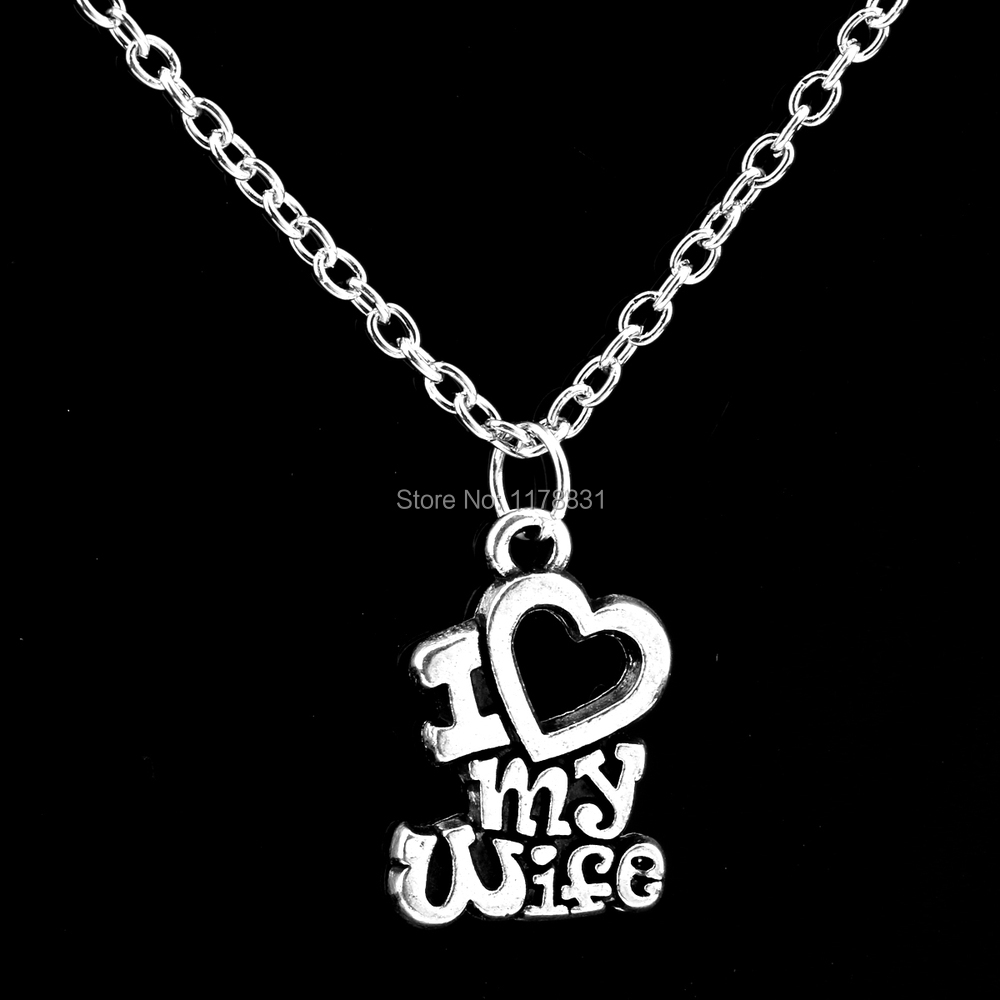 XIAOJINGLING Christmas Gift I Love My Wife Words Heart Retro Silver ...