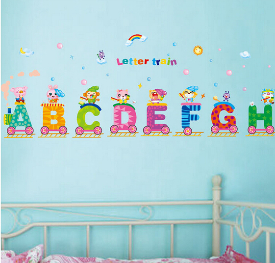 educational wall cartoon alphabet small train wall sticker bedroom