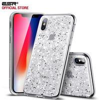Case For Iphone X ESR Bling Sparkly Glitter Crystal Clear Transparent Case Hard PC Back Soft