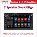 Shinpping libre de Android Reproductor de DVD Del Coche Para CHERY A3 A5 Tiggo 5.1.1 QQ Con USB wifi GPS BT 1024*600 pantalla Quad core 1.6 Ghz CPU