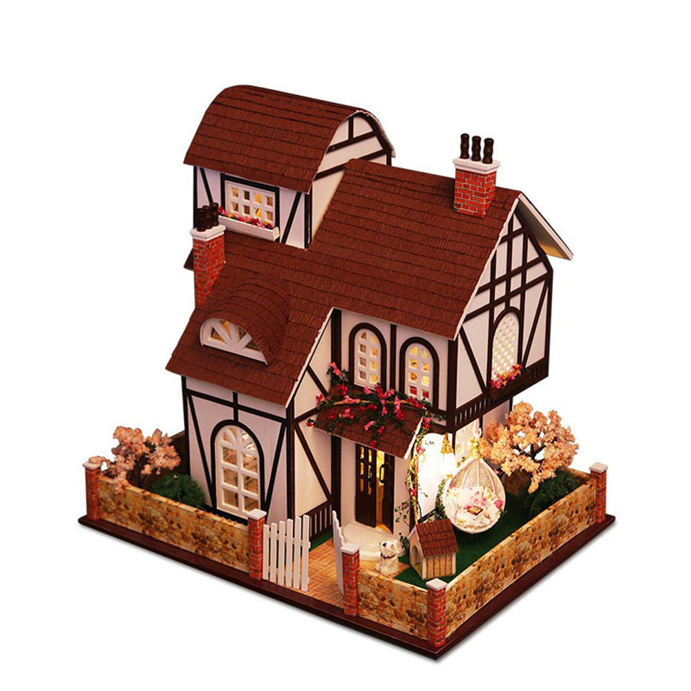 DIY Miniature Room Wooden Doll House Flower Town with Furniture LED Lights Dollhouse Toys for Children