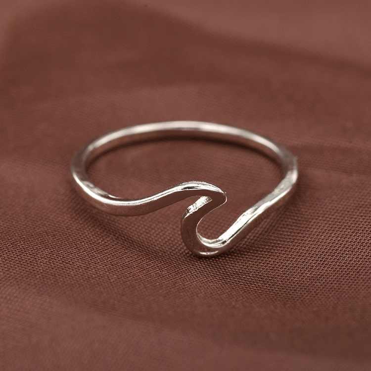 2019 โบฮีเมียโบราณเงินสีOcean WAVEแหวนโลหะSurfer MIDIแหวนKnuckleฤดูร้อนSurfแหวนลวดแหวน