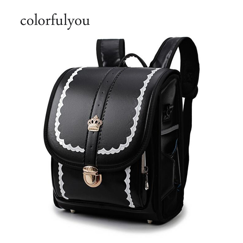 Colorfulyou Brand Waterproof PU School Bags For Girls And Boys Orthopedic Backpacks Child Lace Design Japanese School Bag 2019