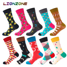 LIONZONE 10Pair Cotton Block Crew happy Socks Warm Colorful Man Male Casual funny