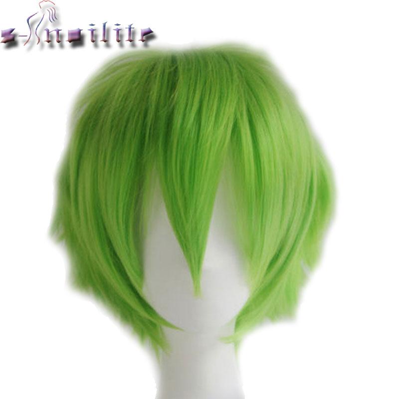 S-noilite Synthetic Women Men Short Hair Wig Cosplay Fancy Dress Full Head Wigs Black Blue Purple Green Yellow