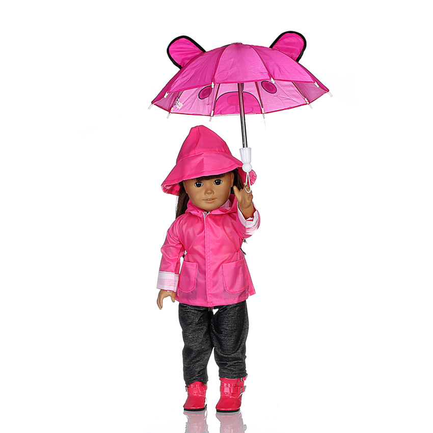 Rain Coat Doll Clothes for 18 inch American Girl Dolls:- Includes Rain Jacket, Umbrella, Boots, Hat, Pants, and Shirt b890 american girl doll clothes superman and spider man cosplay costume doll clothes for 18 inch dolls baby doll accessories d 3