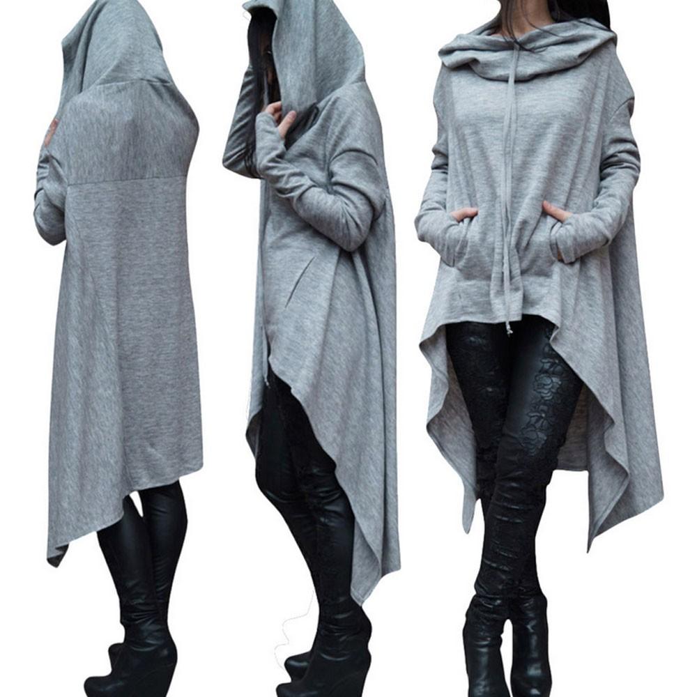 Preself Oversize Sweter Z Kapturem Bluza Kobiety Hoody Blaty Kobiet Luźna Z Długim Rękawem Płaszcz Z Kapturem Na Co Dzień Znosić Pokrywa Swetry Ubrania 2