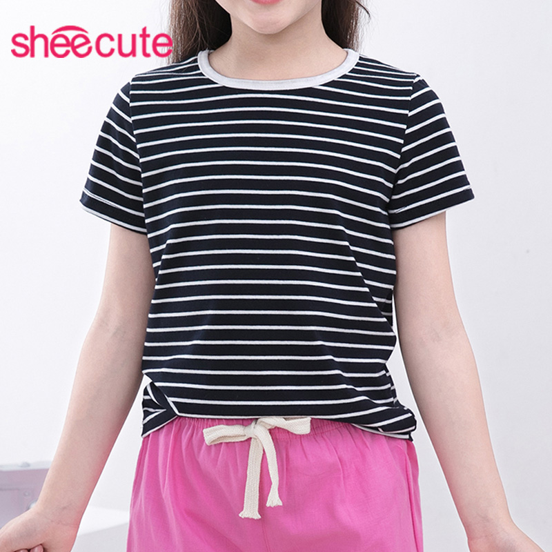 SheeCute boys girls T shirt New Summer Childrens clothes boys girls striped T-shirt Kids short sleeve tees cotton 3-14Y