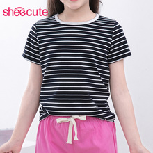 SheeCute boys girls T shirt New Summer Childrens clothes striped T-shirt Kids short sleeve tees 96%cotton 3-14Y