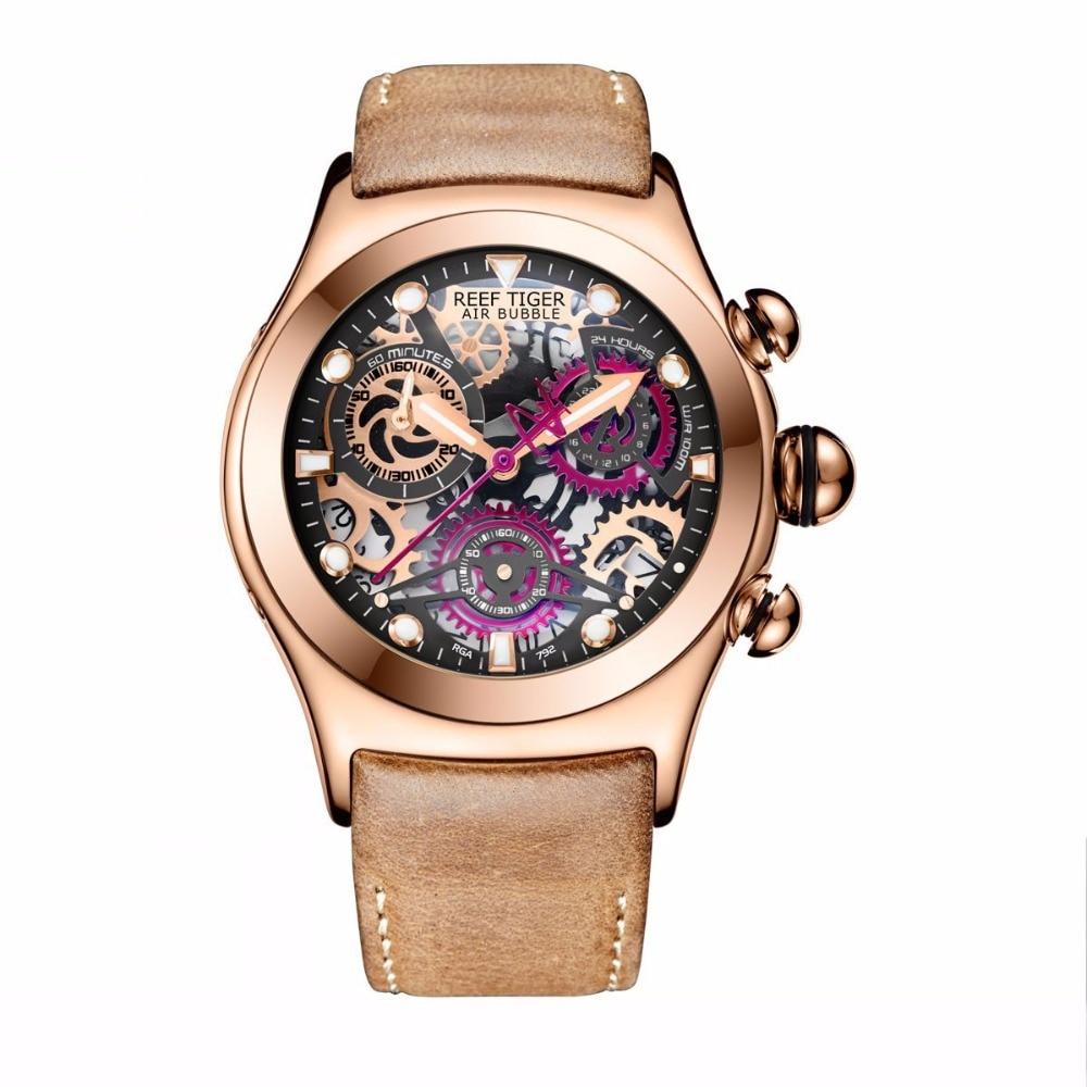 Reef Tiger/RT esqueleto relojes deportivos para hombres oro rosa luminoso relojes de cuarzo correa de cuero genuino RGA792