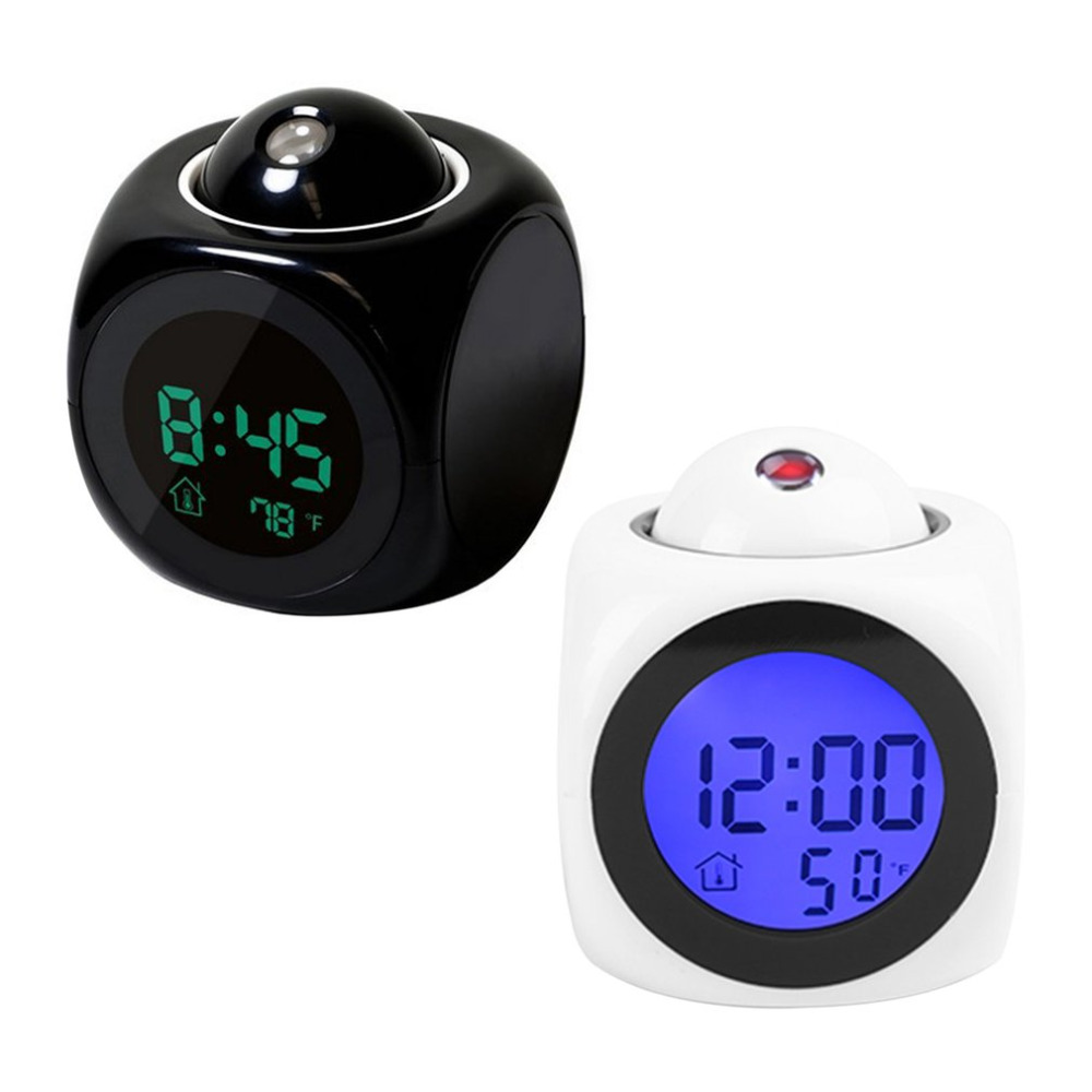 LCD Projection Voice Talking Alarm Clock Backlight Electronic Digital Snooze Desktop Clock With Temperature Display Watch ABS