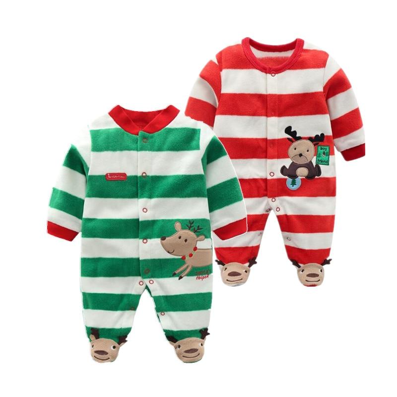 Kerst 2018 Pasgeboren baby Rompertjes Baby Jongens romper warme fleece Baby Jumpsuit 0-12 M goedkope baby kleding van orangemom