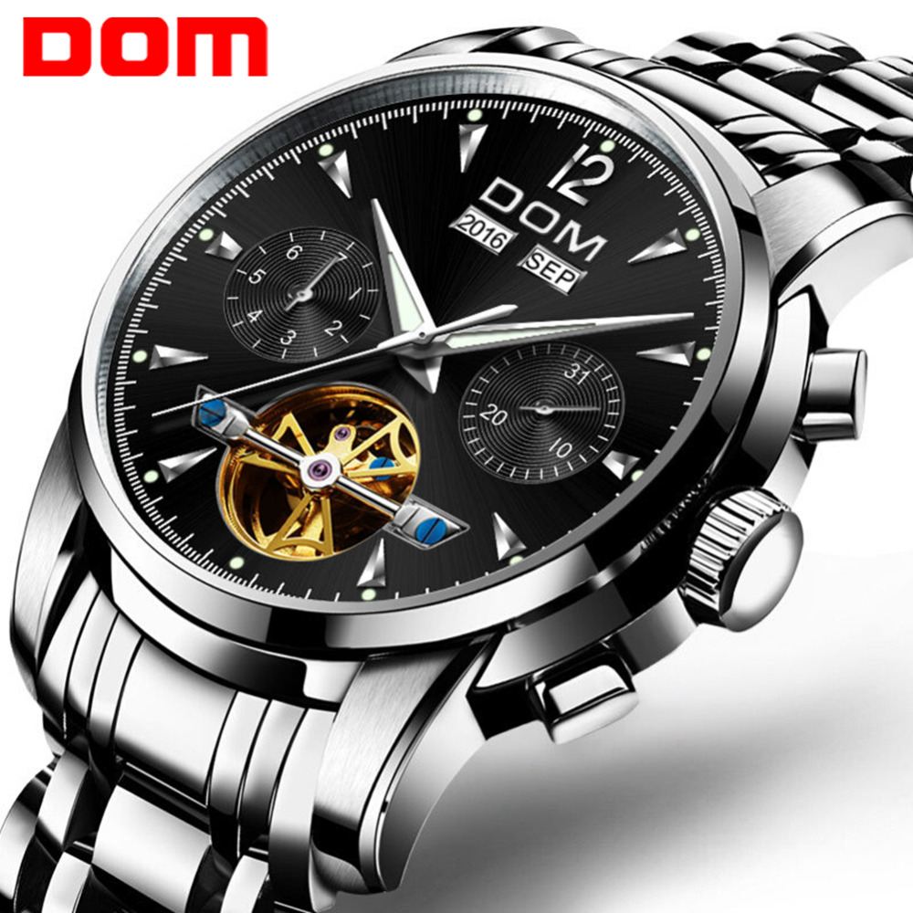 DOM Men New Automatic Mechanical Watch Mens Top Luxury Brand Business Male Waterproof Full-Steel Wrist Watches Relogio M-75D-1MW ailang watches men famous brand luxury automatic mechanical mens watch waterproof full steel date business male wrist watch new
