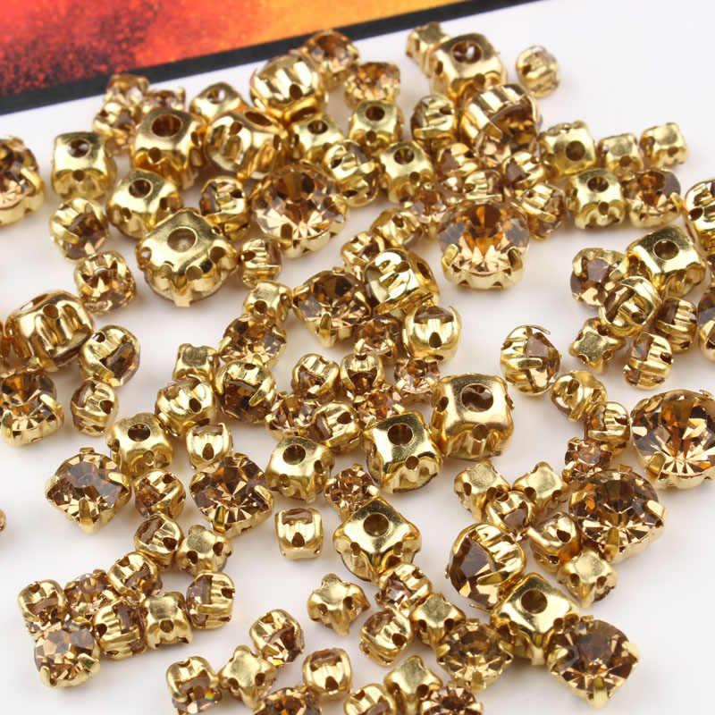 120 шт Lt col топаз смешанный размер пришить стразы с золотой основой 4 мм-8 мм кристаллы и камни для одежды