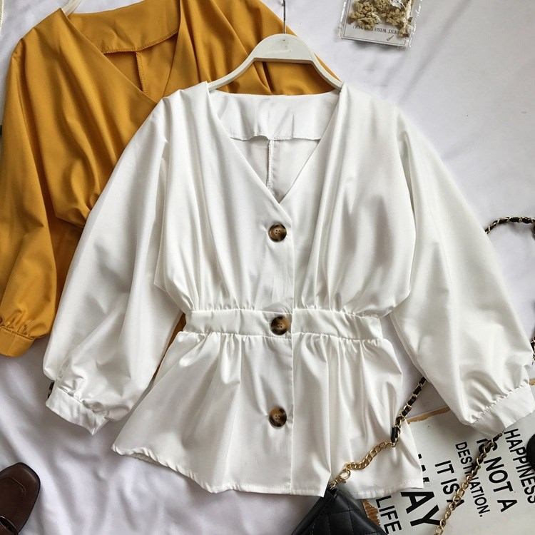 2019 Spring Women Elegant Office V-Neck Lantern Sleeves Blouse Casual Solid Color Tunic Shirt Tops