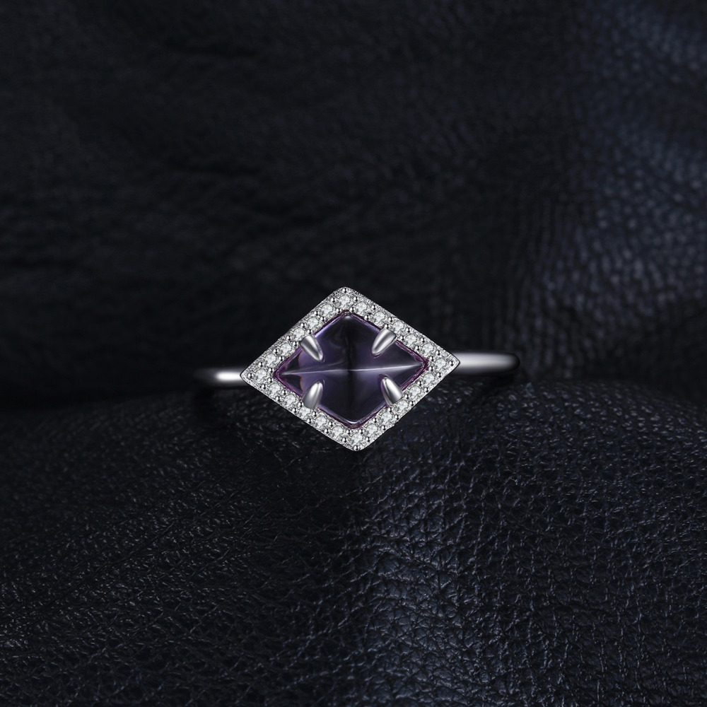 JewelryPalace Fancy 2.0ct Created Alexandrite Sapphire Halo Ring 925 Sterling Silver G8ALB5Cm