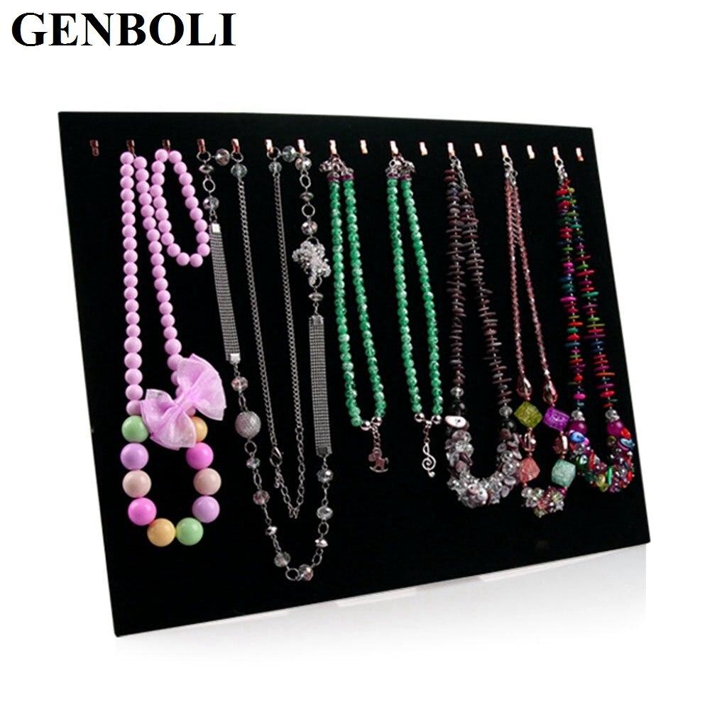 Velvet 17 Hook Necklace Display Stand Women Jewelry Organizer Pendant Chain Show Holder Storage Case Bracelet Display Rack &15