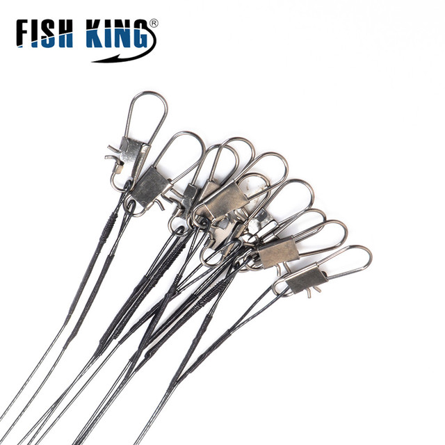 FISH KING 30lb 10pcs Fishing Line Steel Wire Leader With Rolling Swivels Duo-Lock Snap Anti-bait Carp Fishing Wire