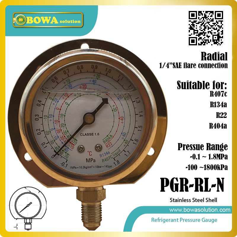 1.8MPa radical Low Pressure freon Gauge for R404a, R22, R134a & R407c show pressure value in coolant device or cooling equipment 1 8mpa low pressure gauge for r404a r22 r407c and r134a indicates pressure value in air conditioner or air dryer machine