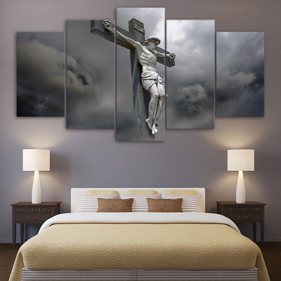 Jesus Statue Cross Religious 5 Piece Canvas Framed Printed Wall Art Home Decor