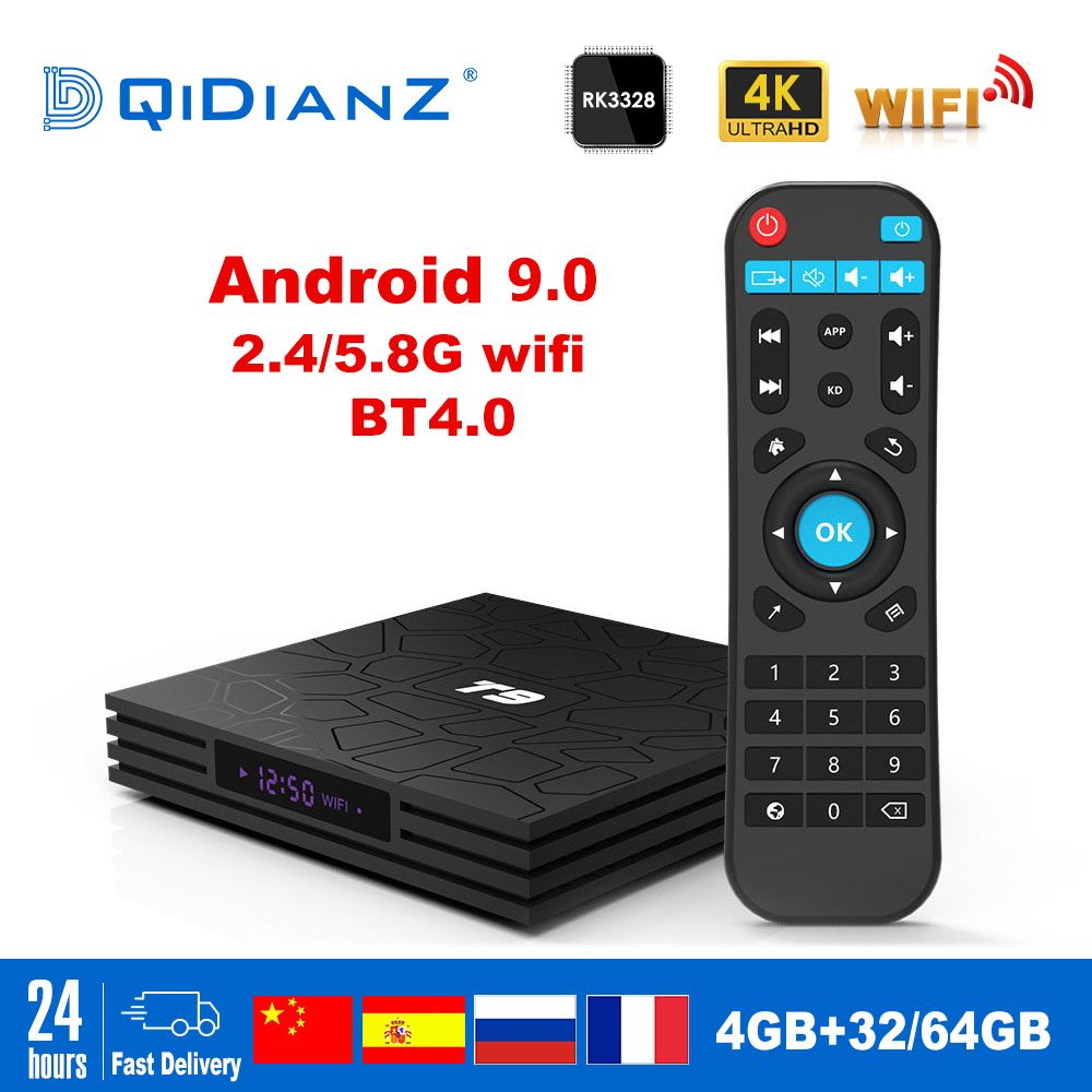 T9 Smart TV BOX Android 9.0 OS 4GB+32GB/64GB  RK3328 Quad-Core WIFI 2,4G 1080P 4K YouTube Netflix Media Paly Set Top Box