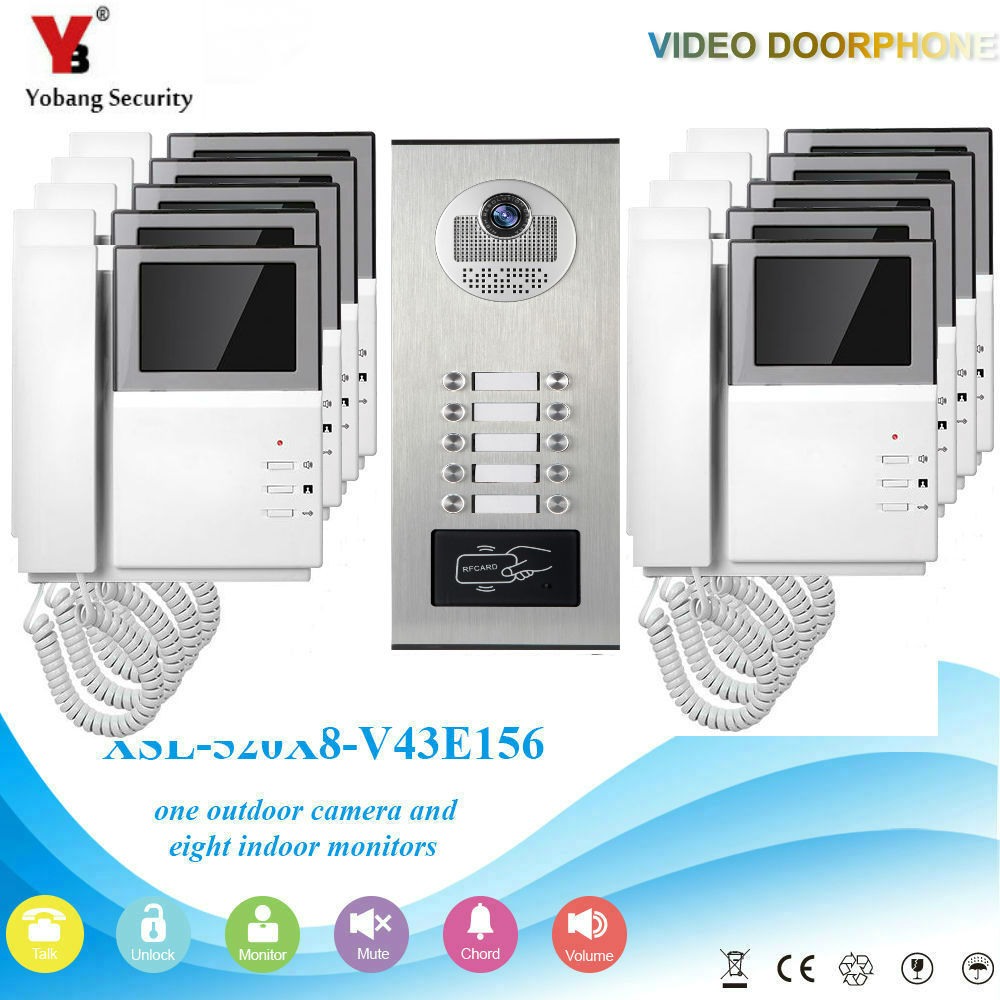 YobangSecurity 4.3 Inch Video Door Phone Doorbell Camera System RFID Access Door Camera For 10 Unit Apartment Video Intercom все цены