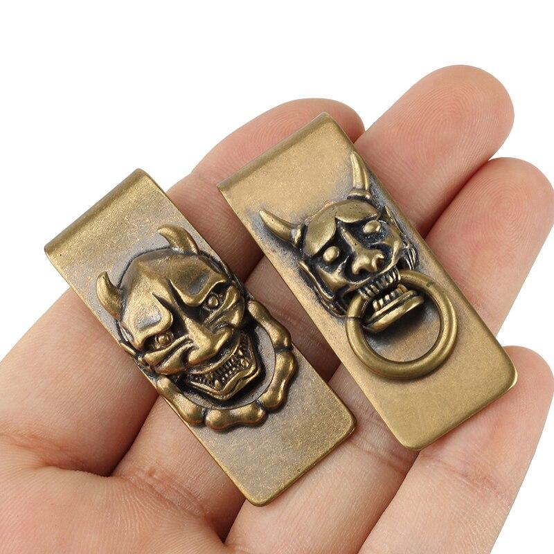 Vintage Brass Skull Money Clip Card Holder Outdoor Small Tool EDC Paper Clip Prajna