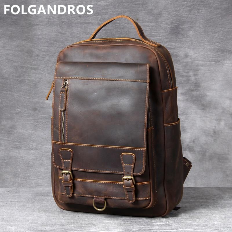 2019 Vintage Large Capacity Cowhide Backpack Men's Brand Original Handmade Genuine Leather Computer Double Shoulder Bag Daypack