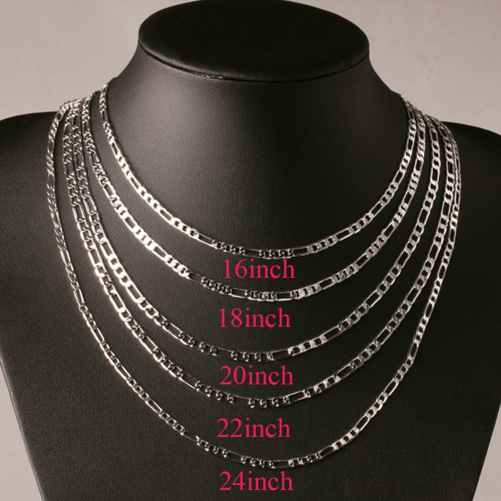 """Wholesale Silver Plated Necklace Chain 16 18 24/"""" Curb Chains"""
