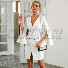 CUERLY Elegant lace up split blazer women dress Autumn 2019 double breasted white Office slim ladies dresses vestidos