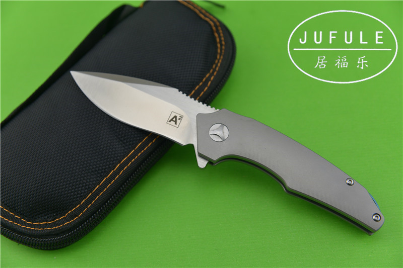 JUFULE A2 IKBS Folding Blade Knife 100 M390 Blade Titanium kitchen Survival Camping Hunting Knives Pocket