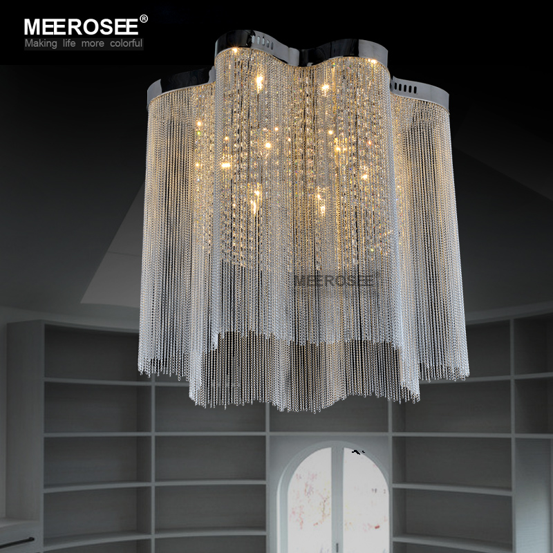 Hot Silver Chain Chandelier Lighting French Empire Aluminum Surface Mounted Lamp Light For Living Room In Chandeliers From Lights