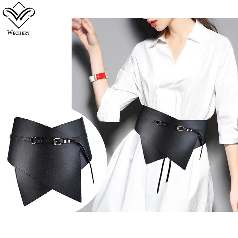 Wechery Black Leather Belts Metal Buckles Wide Waistband Fashion Newest 2018 Large Party Belt Women New Style Wrap Waist Strap
