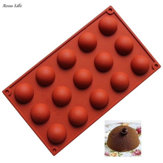 2017 New Silicone 15 Cavity Half Ball Mould DIY Chocolate Cupcake Cake Muffin Baking Mold Ice Bakeware Kitchen Molde De Silicone
