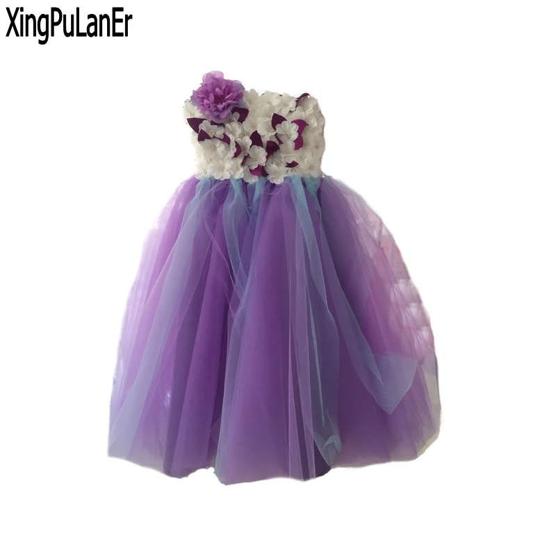 Princess Purple Tulle   Flower     Girls     Dress   Sleeveless Ball Gown Pearls First Communion   Dresses   Kids Pageant   Dress   with 3D   Flowers