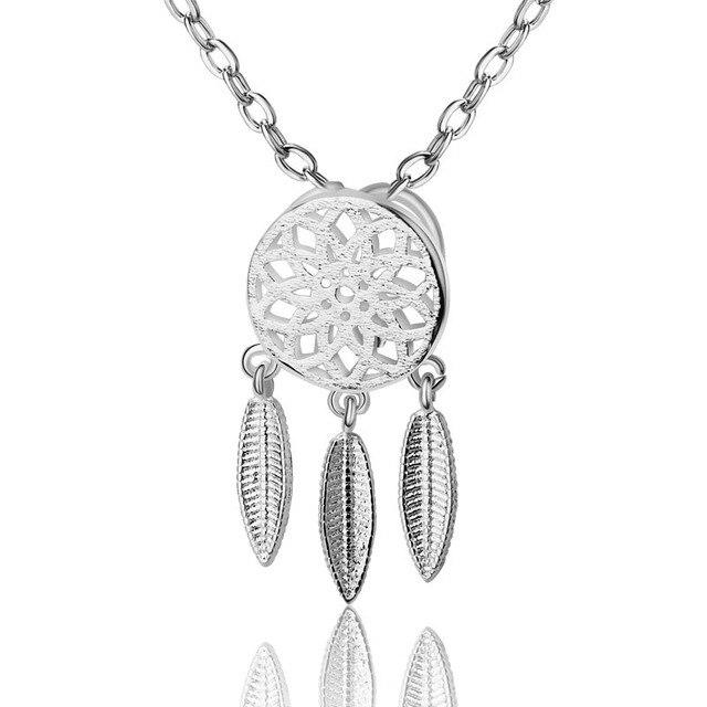 Hot Fashion 925 Sterling Silver Leaf Tassel Hollow Flower Dreamcatcher Pendant N