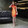 Sexy Ladies Short Lace Qipao Cheongsam Sleeveless Dresses Dress Pattern Traditional Red Chinese Wedding Gown