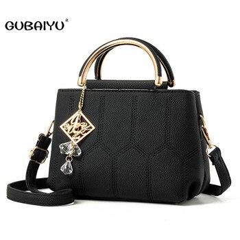 ae1ba2dc268e GUBAIYU Брендовые женские сумки дизайнерские Роскошные высококлассные  скрабы кожаные сумки PU плечевые Лоскутные сумки через плечо