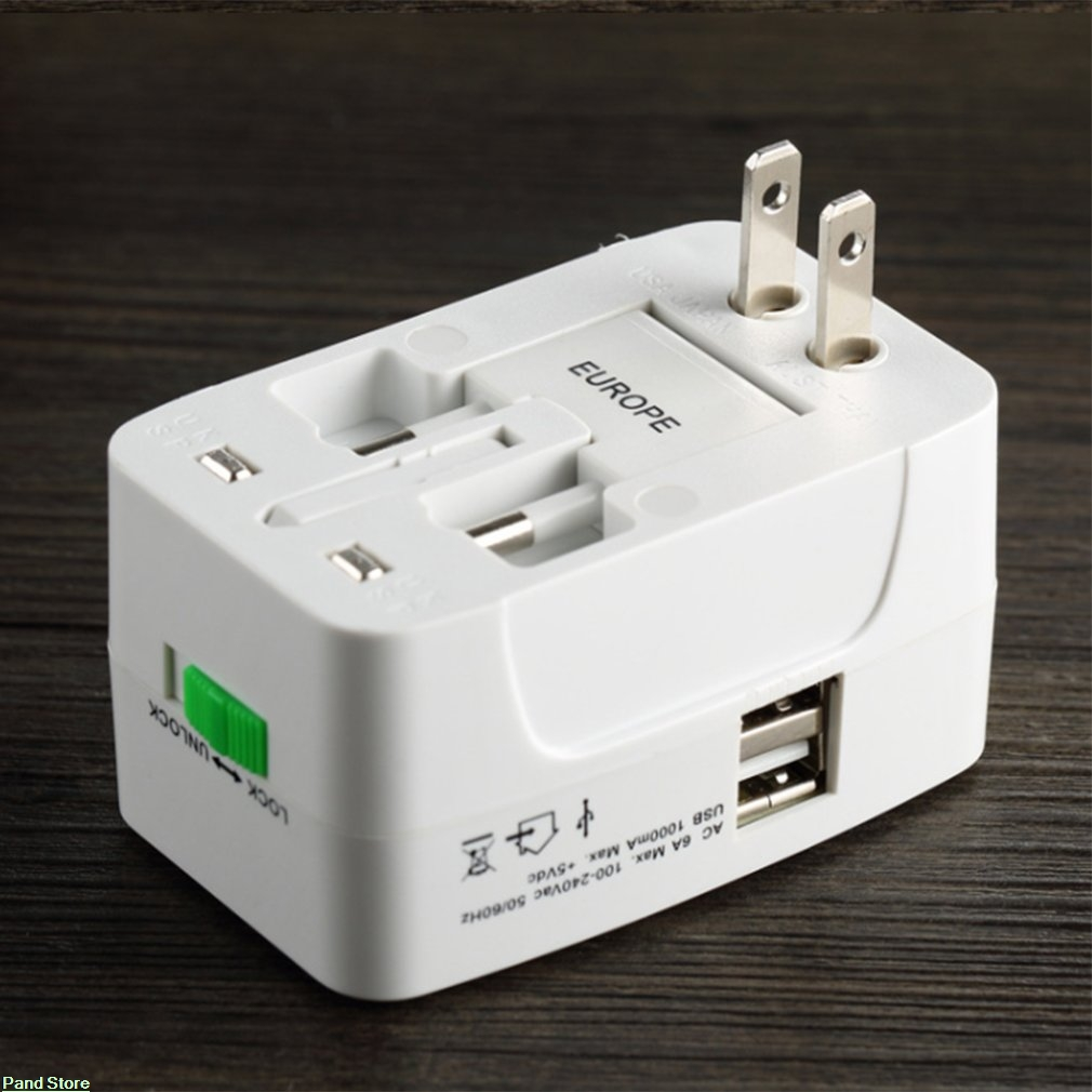 Universal Dual Usb Switching Socket Travel Adapter EU/AU/UK/US Dual USB Plug Charger Power Adapter for Phone Tablets image